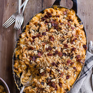 Butternut Squash + Charred Brussels Mac and Cheese with Buttery Bacon Ritz Crackers..