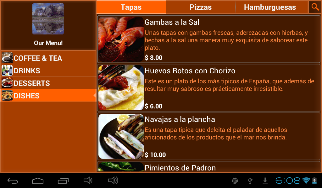 Restaurant Menu - screenshot