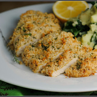 Mustard-Herb Panko Crusted Chicken Breasts.