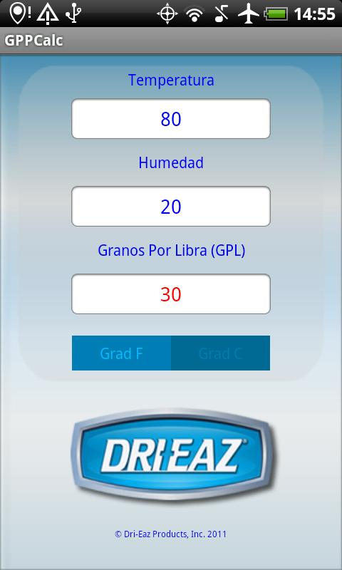 Dri-Eaz GPP Calculator- screenshot