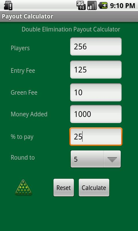 Tournament Payout Calculator- screenshot