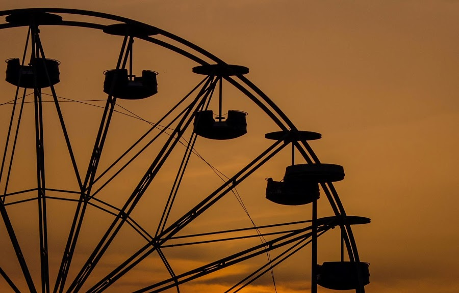 Panorama wheel silhouette by Darko epa Trajkovski - City,  Street & Park  Amusement Parks ( wheel, silhouette, sunset, greece, panorama )
