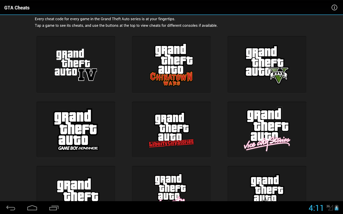 GTA Cheats - for all GTA games - screenshot