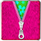 ★Pink Fur Zipper Lock Screen★