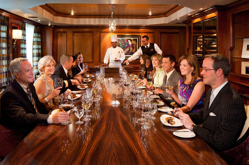 Radiance-of-the-Seas-Chefs-Table - A sommelier and top chef introduce each course and matched wine served in the five-course meals at the Chef's Table, Radiance of the Seas' most upscale dining experience.
