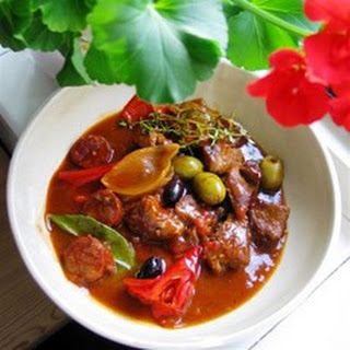 Pork Braised in Sherry with Tomatoes and Chorizo.