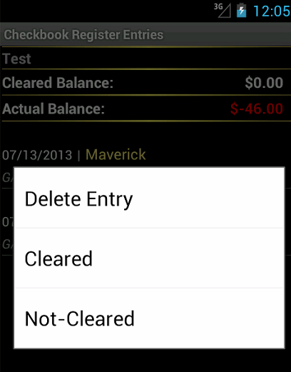 Checkbook Register- screenshot