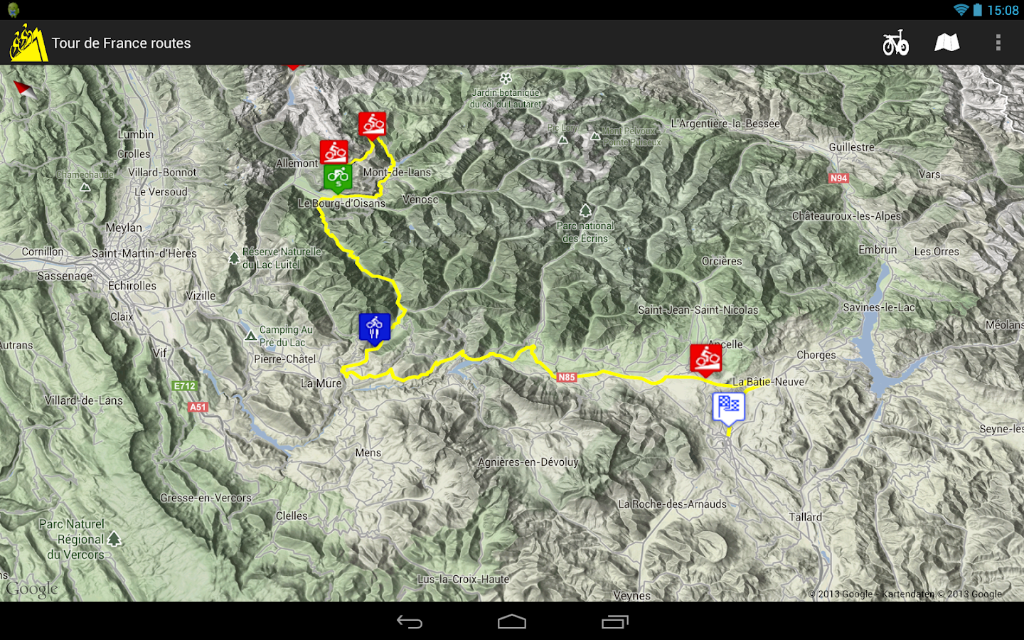Cycling the Alps tour routes - screenshot