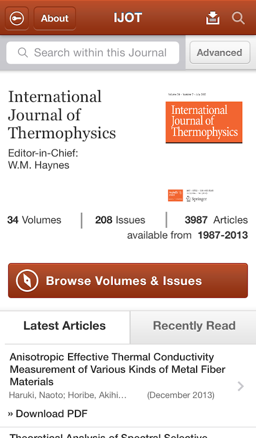 Intl Journal of Thermophysics - screenshot