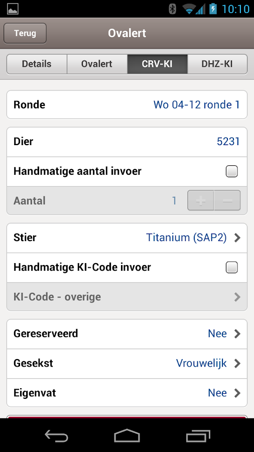 VeeManager App- screenshot