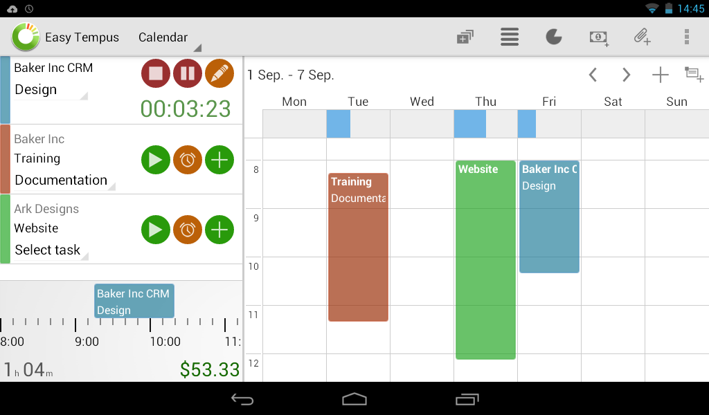 Timesheets and Invoicing - screenshot