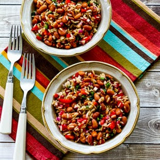 Brown Rice and Pinto Bean Salad with Poblano and Red Bell Pepper.
