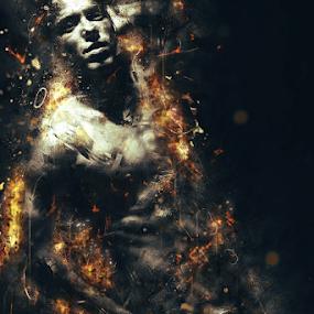 Fury by Ricardo Marques - Illustration People ( fury, sprks, smoke, man, fire )