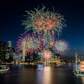 Chinese New Year Eve fireworks by Carol Tan - Public Holidays New Year's Eve ( #chinese new year, #fireworks )