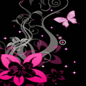 Pink Butterfly on Rose Live Wa icon