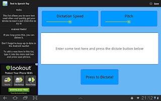 Screenshot of Text To Speech Toy
