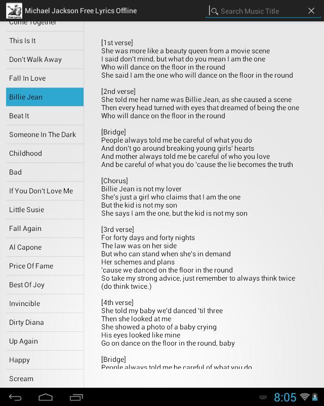 Lyric me & u lyrics : Michael Jackson Lyrics Free - Android Apps on Google Play