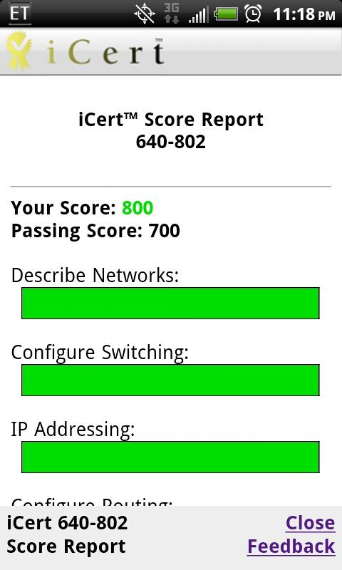 iCert Practice Exam for CCNA- screenshot