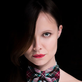 Bow tie! by Nikola Bogdanic - People Portraits of Women ( girl, bow tie, blue eyes, portrait )