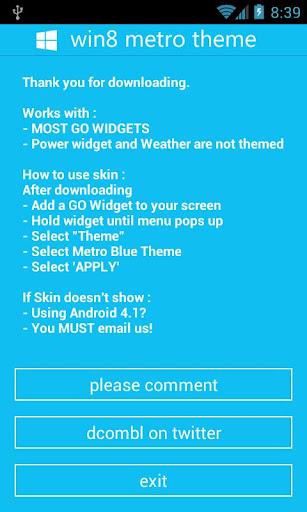 GOWidget - Win8 Blue Theme