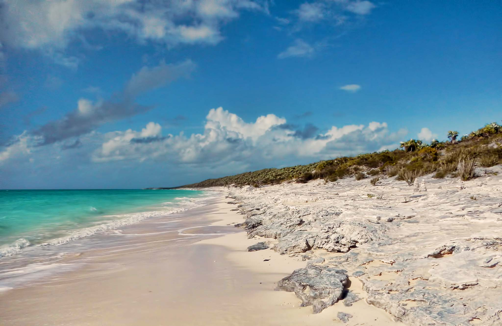 The beach at Alligator Point on Cat Island, Bahamas.