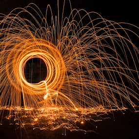 Let the sparks fly! by Steve Kazemir - Abstract Light Painting ( arcs, spin, night, sparks, fire, flame )