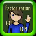 Factorization, GCF and LCM icon