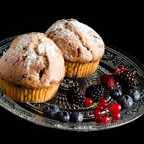 Fruit Muffins by Dejan Stanic - Food & Drink Cooking & Baking ( blackberry, muffins, fruit, blueberry, redberry, triple berry, plate, muffin, candy, dessert, sweet )