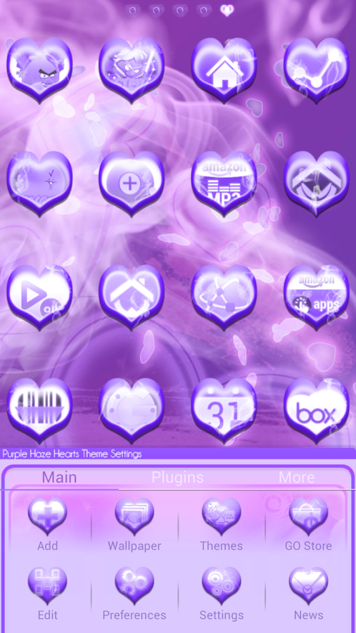 Purple Haze Hearts GO Launcher - screenshot