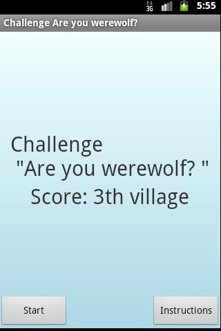"Challenge ""Are you werewolf?"" - screenshot"