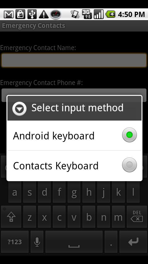 Contacts Keyboard - screenshot
