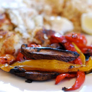 Balsamic Roast Mushrooms Tomatoes & Peppers.