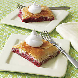 Raspberry and White Chocolate Strudel.