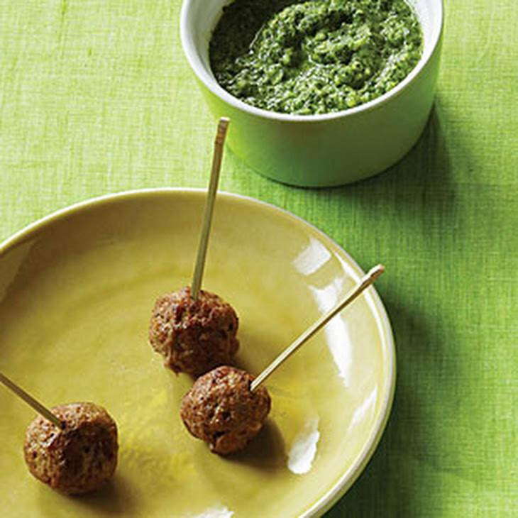 Mini Lamb Meatballs with Cilantro-Mint Chutney Recipe