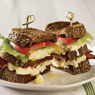 Bacon-and-Egg Club Sandwiches.