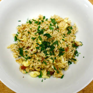 Saffron Fried Rice with Dried Apricots and Almonds.