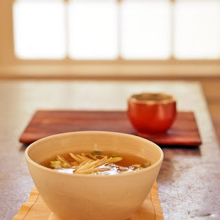 Miso Soup with Enoki Mushrooms.