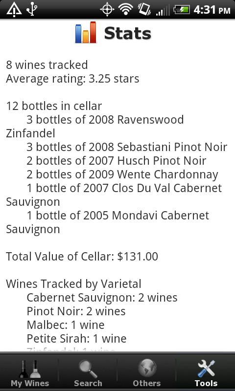 Wine + List, Ratings & Cellar - screenshot