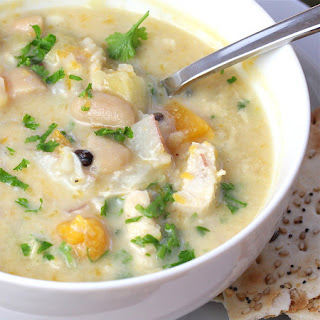 Chicken Chowder with Swiss Cheese, White Beans and Butternut Squash
