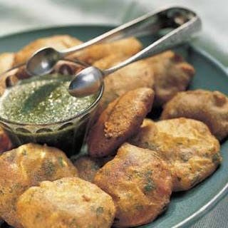 Spicy Potato Fritters with Green Chutney
