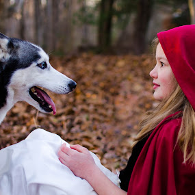 Little Red by Melanee Thomas - Babies & Children Child Portraits ( costumes, forrest, wolf, magical, kids, little red ridding hood, dog, fairytale, m'kate photography )