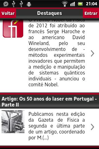 Gazeta de Física- screenshot