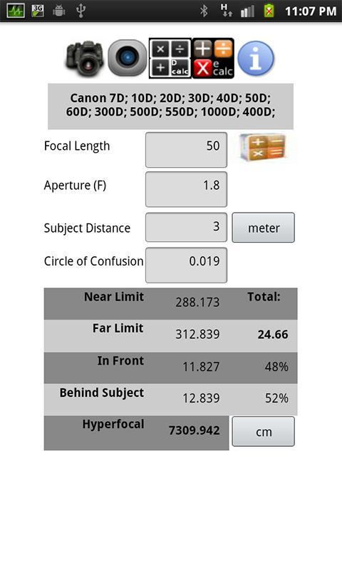 DOF Calculator Plus - screenshot