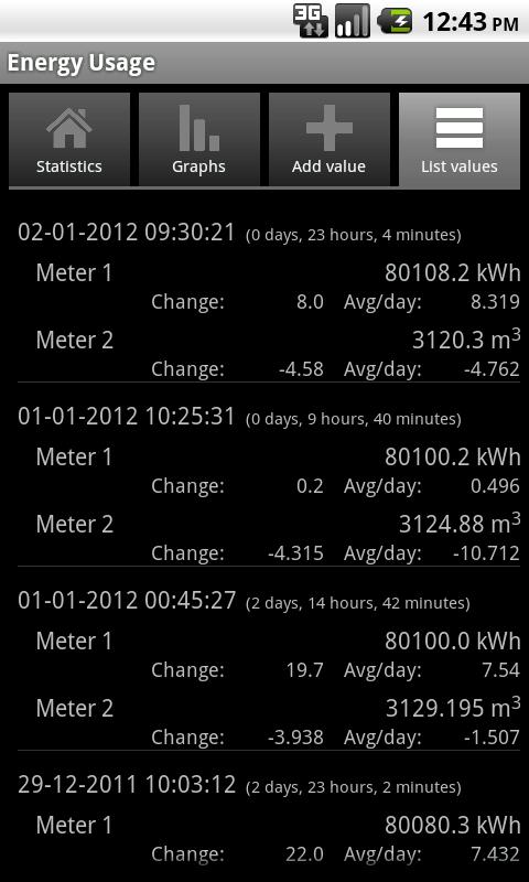 Energy Usage - screenshot