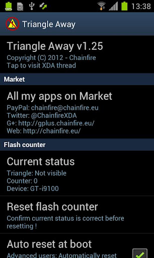 Triangle Away v1.95 / IC Rooting for Galaxy S II and III