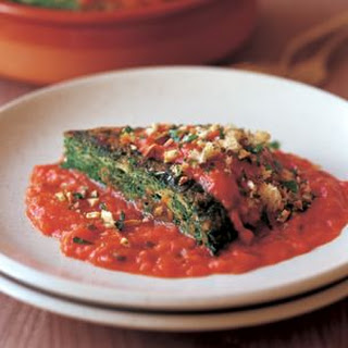Spinach Omelette with Tomato Sauce.
