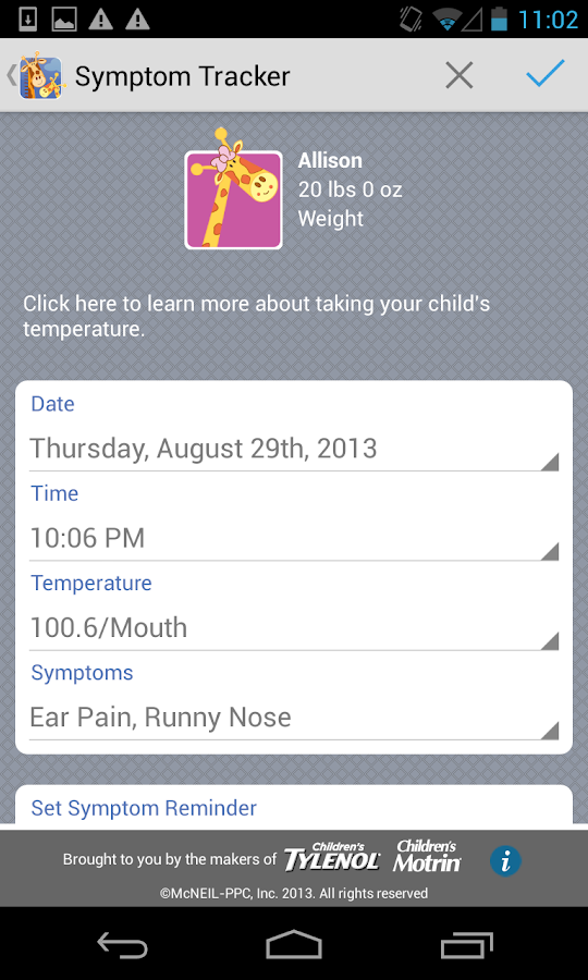 Kids' Wellness Tracker - screenshot