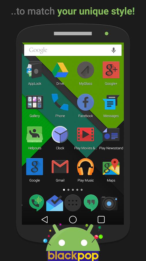 BlackPOP Launcher Theme - screenshot