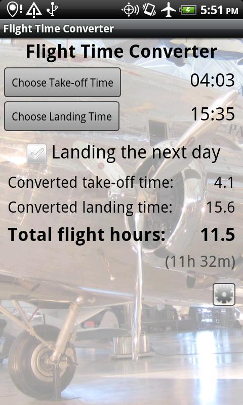 Flight Time Converter- screenshot