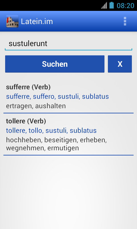 Latein-Wörterbuch- screenshot